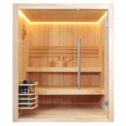 Nordische Sauna Aalborg / Traditionelle Saunakabine inkl. 8 Kw-Ofen / 180 x 180 cm