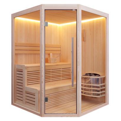 Nordische Sauna Kolding 160 / Traditionelle Saunakabine inkl. 6 Kw-Ofen / 160 x 160 cm