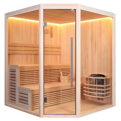Nordische Sauna Kolding 180 / Traditionelle Saunakabine inkl. 8 Kw-Ofen / 180 x 180 cm