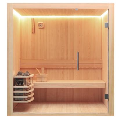 Nordische Sauna Skive 120 / Traditionelle Saunakabine inkl. 6 Kw-Ofen / 120 x 120 cm